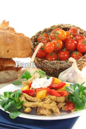 greek paprika peppers meat cut into