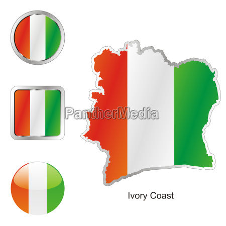 ivory coast map and internet buttons