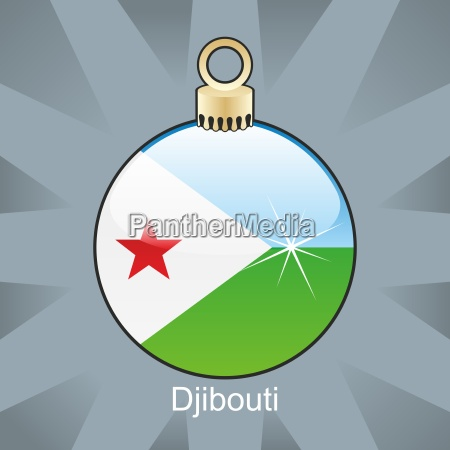 djibouti flag in christmas bulb shape