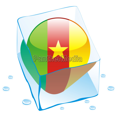 cameroon flag frozen in ice cube