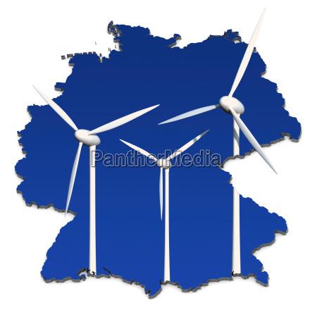 windkraftrad before blue germany map