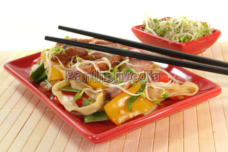 noodles duck vegetable poultry food dish