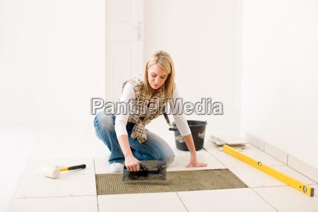 home improvement renovation handywoman laying