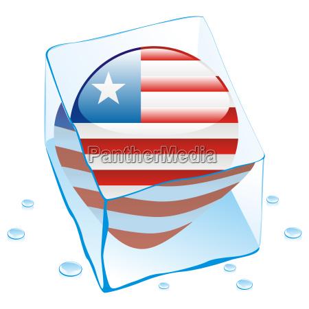 liberia flag frozen in ice cube