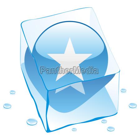 somalia flag frozen in ice cube
