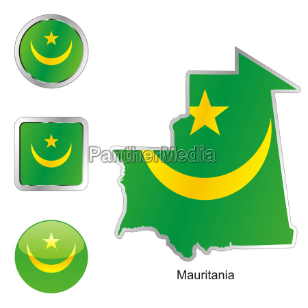 mauritania map and internet buttons