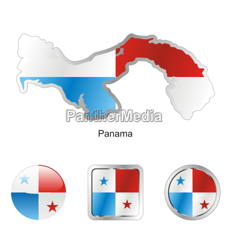 panama map and internet buttons