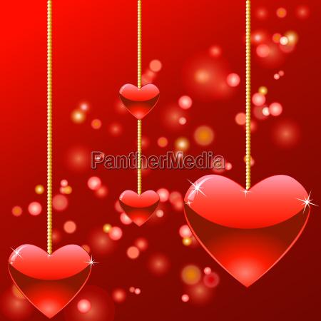 hanging hearts with splendor of lights