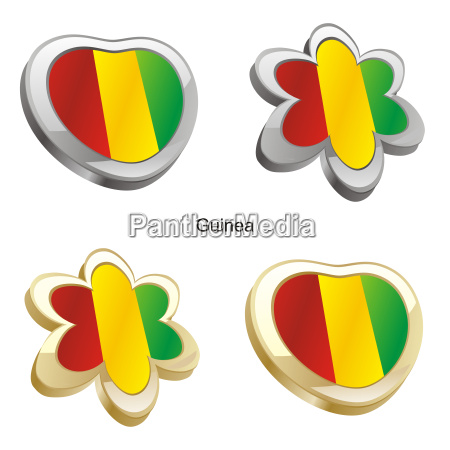 guinea flag in heart and flower
