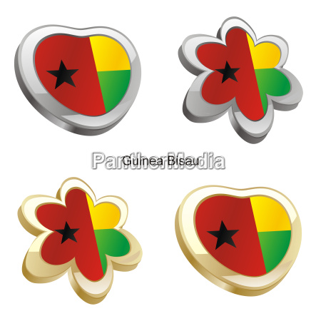 guinea bissau flag heart and flower