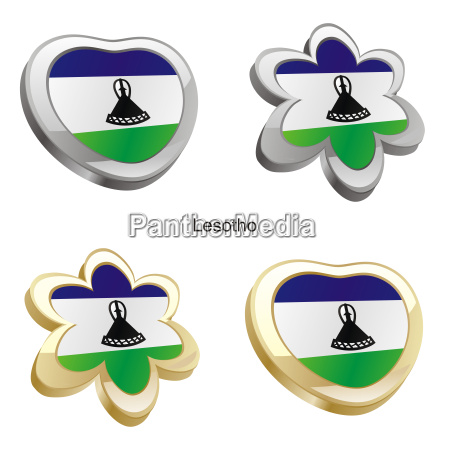lesotho flag heart and flower form