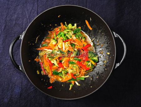 wok with colorful vegetables