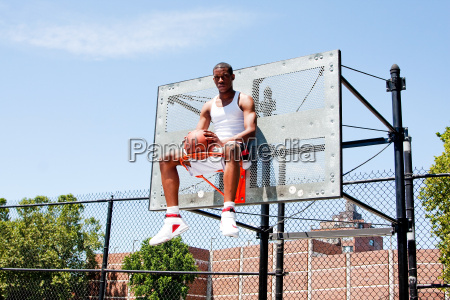 basketball player sitting hoop