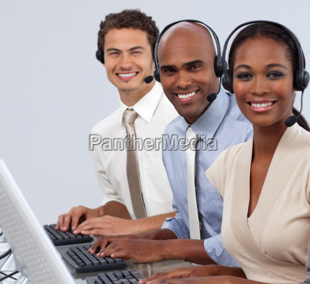 enthusiastic business partners with headset on