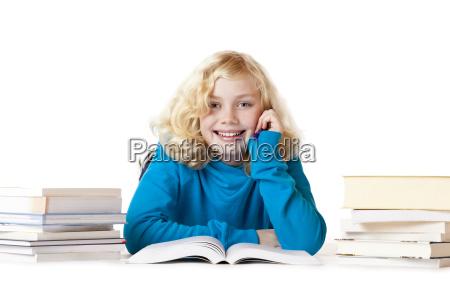 schoolgirl is merrily floor