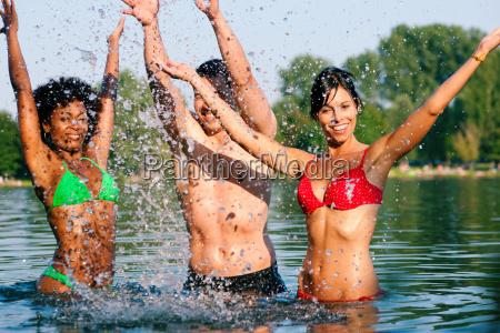 fun while swimming in the lake