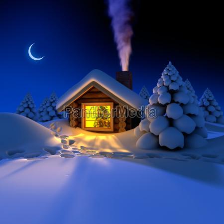 pequenya casa en el bosque en