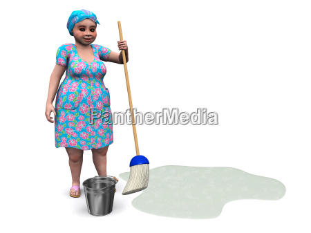 lady ready to mop the floor
