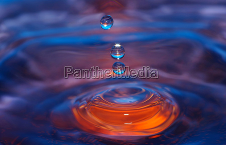 three water drops with waves