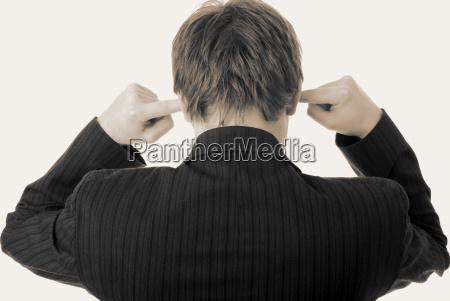 noise in ears listen fingers businessman