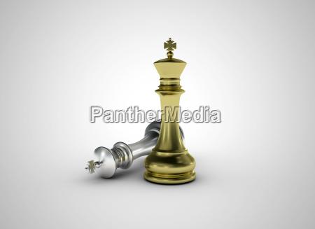 golden chess king standing leadership concept