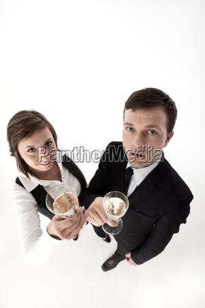 businessleute feiern mit champagner