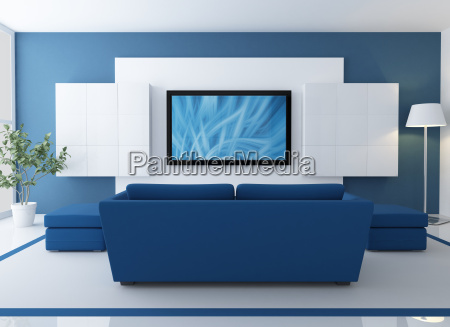 blue and white lounge