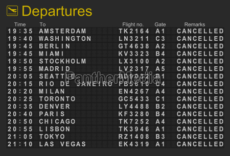 international airport departures board with all
