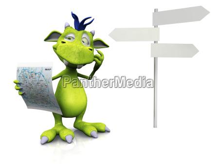 cute cartoon monster holding a map