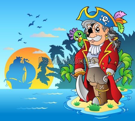 noble corsair standing on island