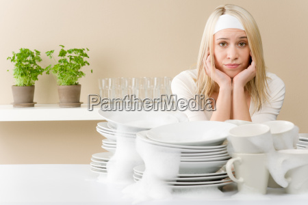 modern kitchen frustrated woman in