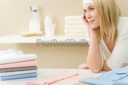 laundry ironing woman break
