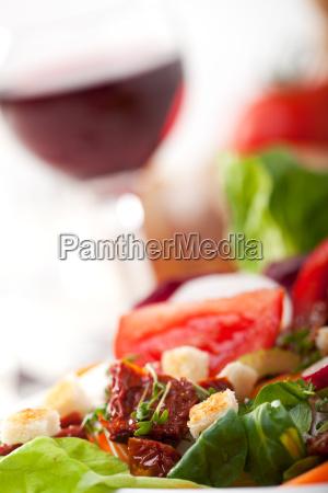 detail eines frischen gemischten salates