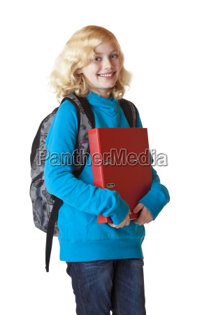 happy schoolgirl with backpack and folder