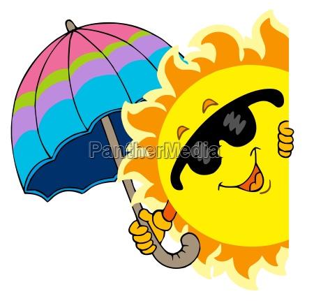 lurking sun with umbrella