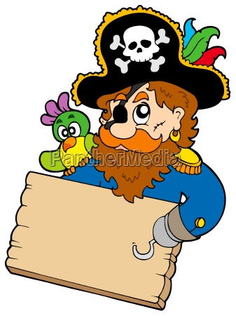 pirate with parrot holding table