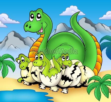 dinosaur mom with little babies