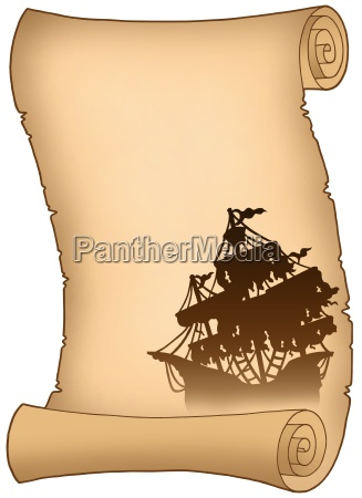 old scroll with mysterious ship silhouette