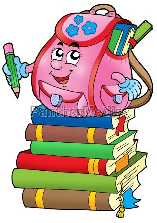 pink school bag on books