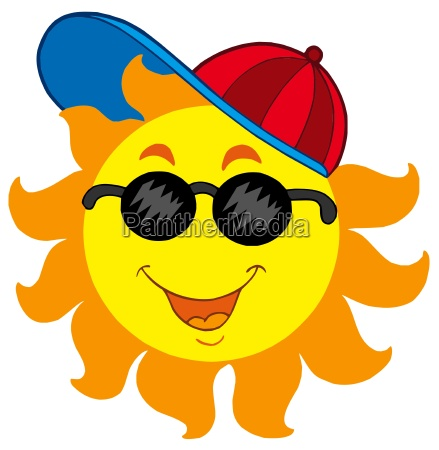 cartoon sun in baseball cap