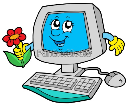 cute computer with flower