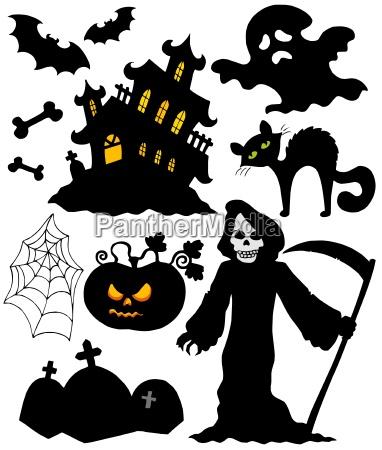 set of halloween silhouettes