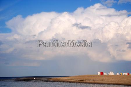 north sea beach and rainbow