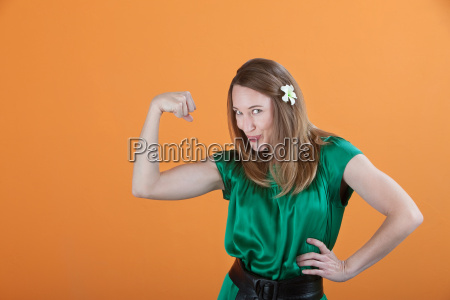 woman showing her bicep
