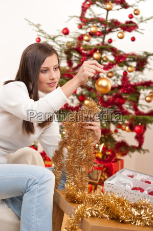 young woman with christmas decoration