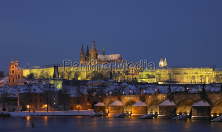 prague castle with charles bridge in