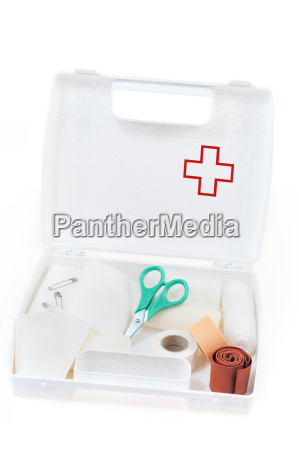 open first aid kit isolated on