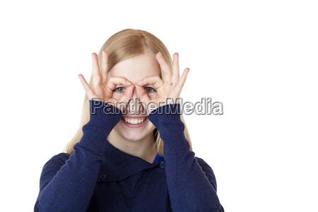 young attractive woman doing with hands