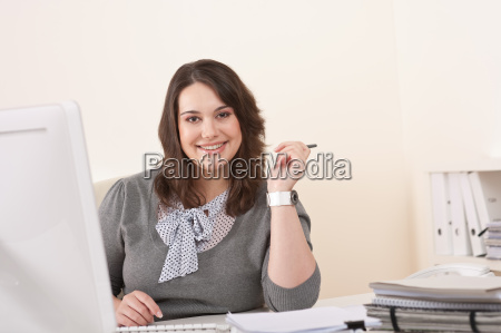 young business woman working with computer