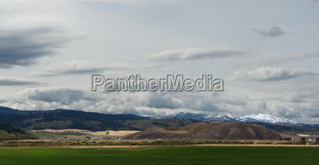 landscape in wyoming with snow capped